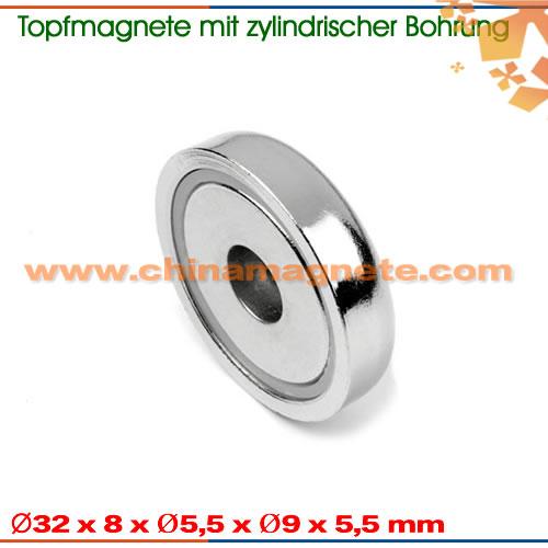 Topfmagnete mit Zylindrischer Bohrung und Senkung