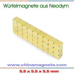 Vergoldet NdFeB Stark Magneten Würfel
